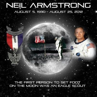 Big screens showed Eagle Scout Neil Armstrong landing. Who ...
